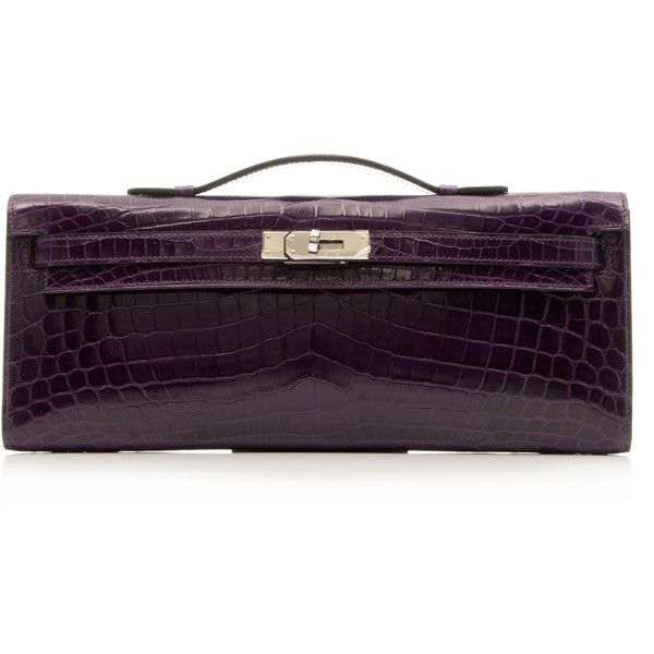 Pre-Owned Hermes Kelly Cut Alligator Clutch (36,363,845 KRW) ❤ liked on Polyvore featuring bags, handbags, clutches, prune, alligator purse, hermes handbags, plastic purse, purple tote and hermes tote bag