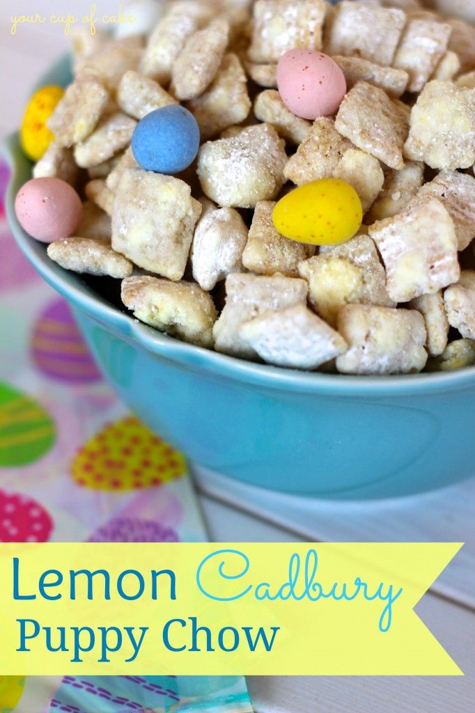 Lemon Cadbury Puppy Chow 10 cups rice Chex cereal 1 1/2 cups white chocolate chips or melts 1/4 cup butter 4 tsp lemon zest 2 tsp lemon juice yellow food dye, optional 1 1/2 cups powdered sugar 1 Tbsp. lemon gelatin (powder) 1 bag Cadbury Eggs