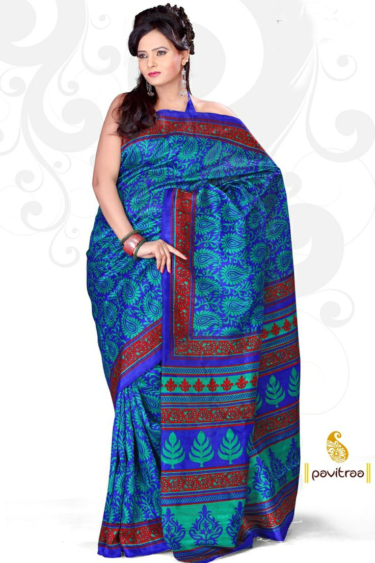 Pavitraa Fashion Ethnic Ice blue and deep blue Printed Saree  SKU : PTR-2584 Best Price : 720 Contact name: Pavitraa Fashion Co No : +91 7698234040