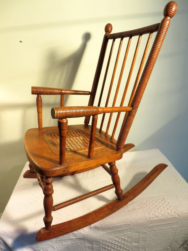 Antique Vintage Wooden Childu0027s Rocking Chair Caned Center Seat Ribbed  Spindles