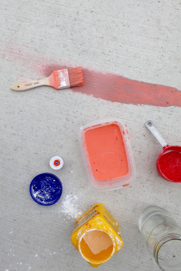 DIY sidewalk lava paint. 1:1 ration with water and corn starch. Add orange food coloring for desirable shade.