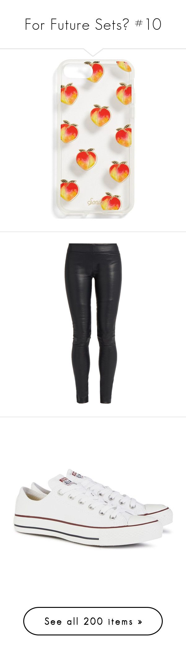 """""""For Future Sets🌸 #10"""" by moon-and-starss ❤ liked on Polyvore featuring accessories, tech accessories, orange, pants, leggings, bottoms, jeans, navy, stretch waist pants and navy blue leather leggings"""