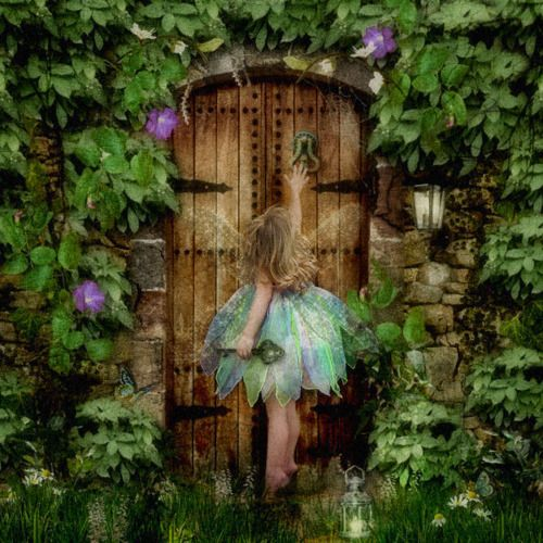 Girl fairy knocking on majestic old vintage looking for The fairy door