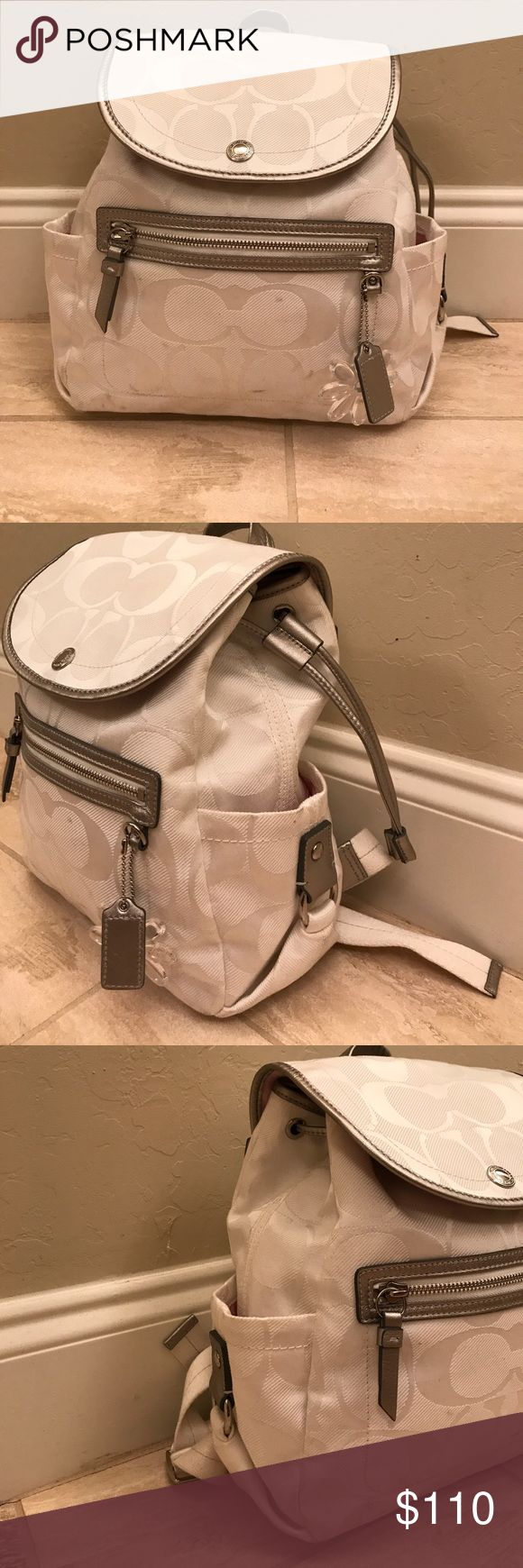 White Coach Backpack Mini white coach backpack with light pink interior. Coach Bags Backpacks