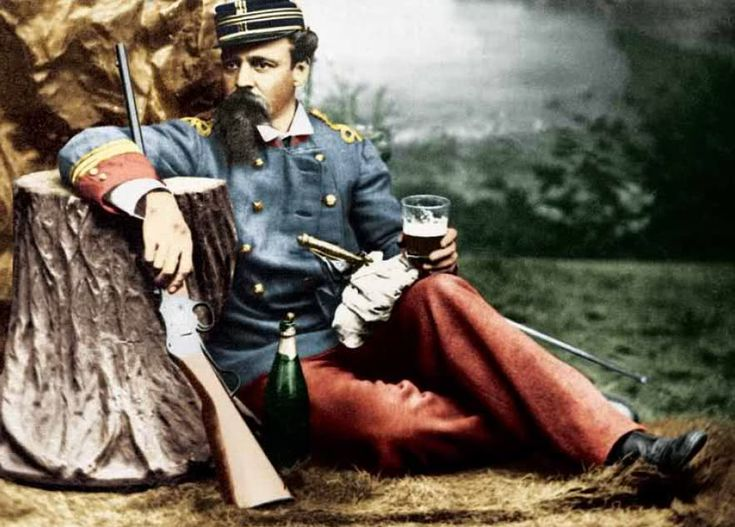 """Chilean Captain, """"Talca"""" Regiment, portrayed with a beer, his sword, holster and Peruvian Martini-Henry rifle, in Lima in 1881"""