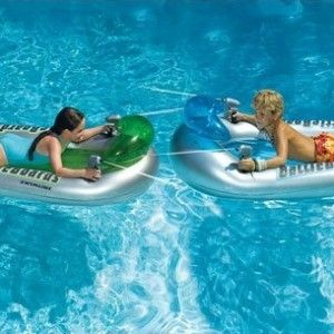 Extreme Pool fun with this awesome Extreme Water fighter set for 2.  Two inflatable Battle boards each with a constant supply water pistol for the ultimate pool battle. Awesome Inflatable Pool Toy.