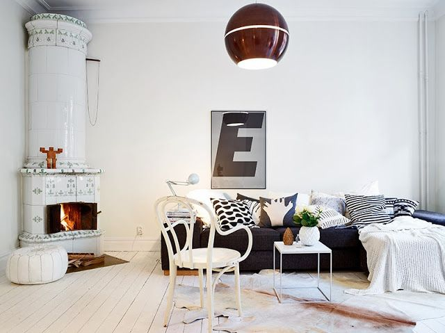 Swedish home in white. grey and brown