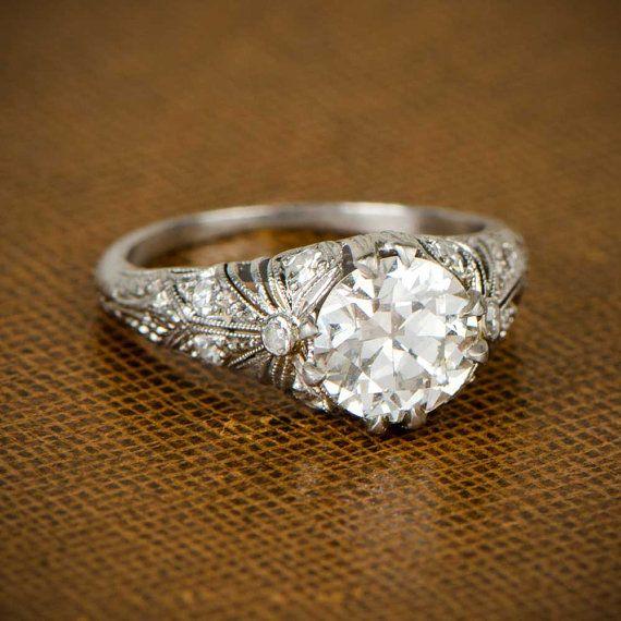 Edwardian Engagement Ring. Circa 1910 by EstateDiamondJewelry