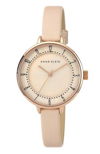 Anne Klein Round Slim Leather Strap Watch, 36mm available at #Nordstrom #anneklein #slimwatches