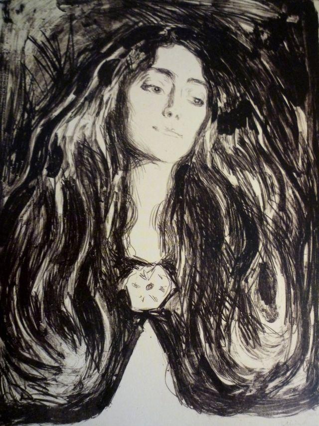 Edvard Munch - The Brooch, Eva Mudocci (1903)