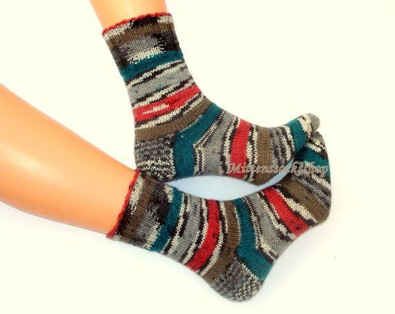 #Handknitted #socks Wool socks Elegant stylish socks from sock yarn Warm socks for all seasons Bright red gren gray white black striped socks