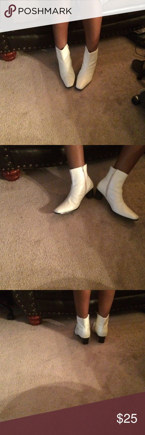 Winter white ankle boots 2 inch heel zip up on the side  around toes size 11 wide never worn pleather man made classique Shoes Ankle Boots & Booties