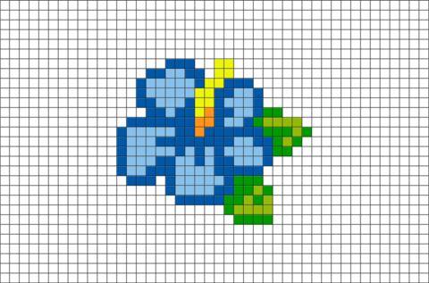 Blue Hibiscus Pixel Art
