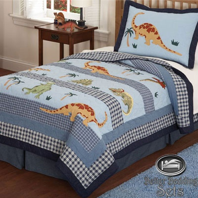 Boy children kid dinosaur quilt bed linen bedding set for twin full queen size ebay
