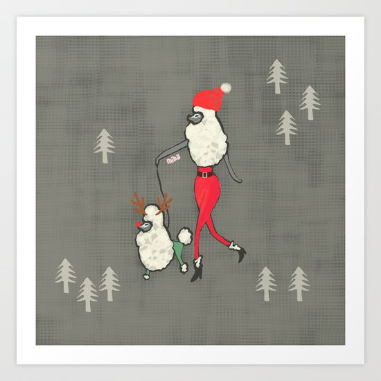 Merry Poodle Christmas! Art Print by Miba