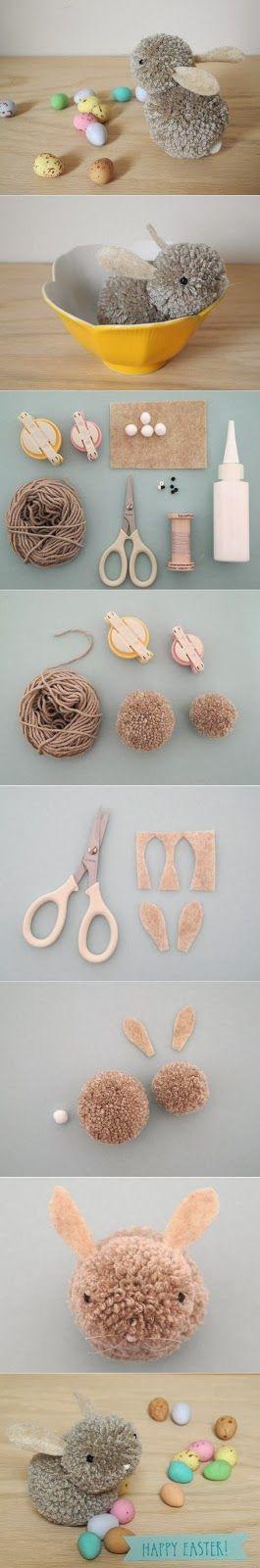 SEGUNDA PÁSCOA LINDA - Coelhinho de Pompons - DIY - * Decoração e Invenção *