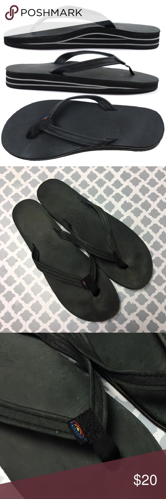 Rainbow Black Leather Flip Flops Rainbow Black Leather Flip Flops Women's size Large. Fits best size 8 or 8.5. These sandals are in excellent condition, but if you've ever owned a pair of rainbows (especially black) you understand they can look very worn after only a few good wears. These have been worn maybe 10 times so do not be alarmed: they have lots and lots of wear left in them!! Rainbow Shoes Sandals