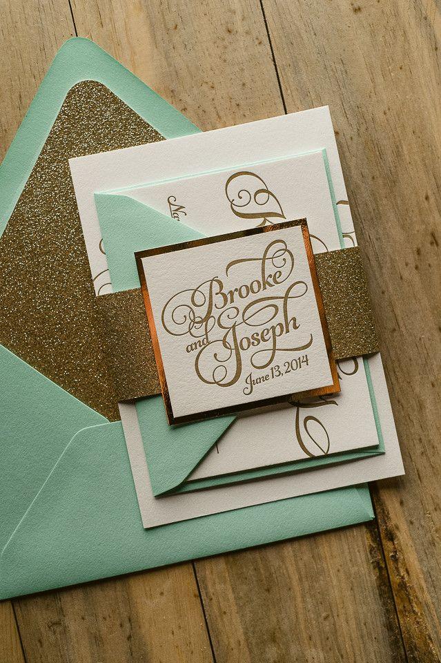 KATHRYN Suite Glitter Package, mint and gold, beautiful script wedding invitations, letterpress wedding invitations, elegant wedding invitations, glitter wedding invitations