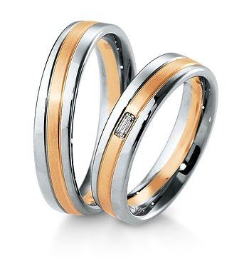 Breuning Trouwringen | Inspiration collectie gouden ringen met of zonder bagette diamant | 5mm briljant 0.06ct verkrijgbaar in 8,14 en 18 karaat | 48041690 / 48041700 OOK in wit geel en rood goud verkrijgbaar of in 2 kleuren goud #trouwringen #breuning #trouwen