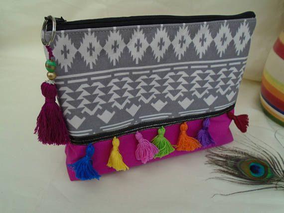 Handmade Cosmetic Makeup Bag Washbag, Boho Hippy Festival Tassels, Batik lining Cerise Hot Pink Canvas Fabric, Purse Ideal Gift Mothers Day