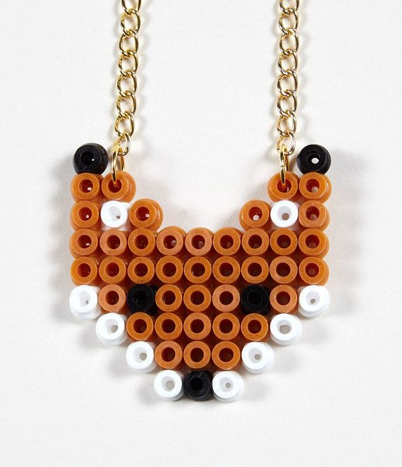 Hama Bead Fox necklace by JonesStreetStudios on Etsy