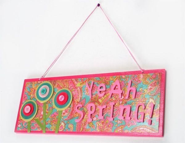 Mod Podge sign dollar store spring craft