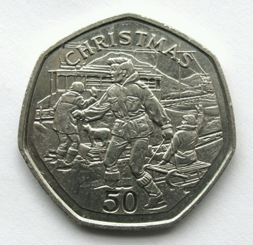 Rare christmas fifty pence 50p coin #children #sledding isle of man 1995 #scarce ,  View more on the LINK: 	http://www.zeppy.io/product/gb/2/282196599282/