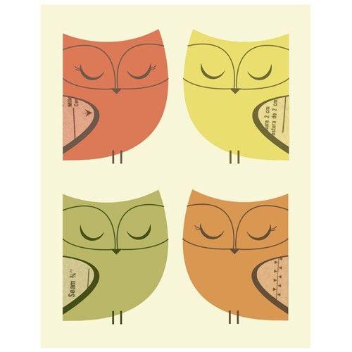 Owl Patterns - 11 x 14 Print by LoveSugar on etsy