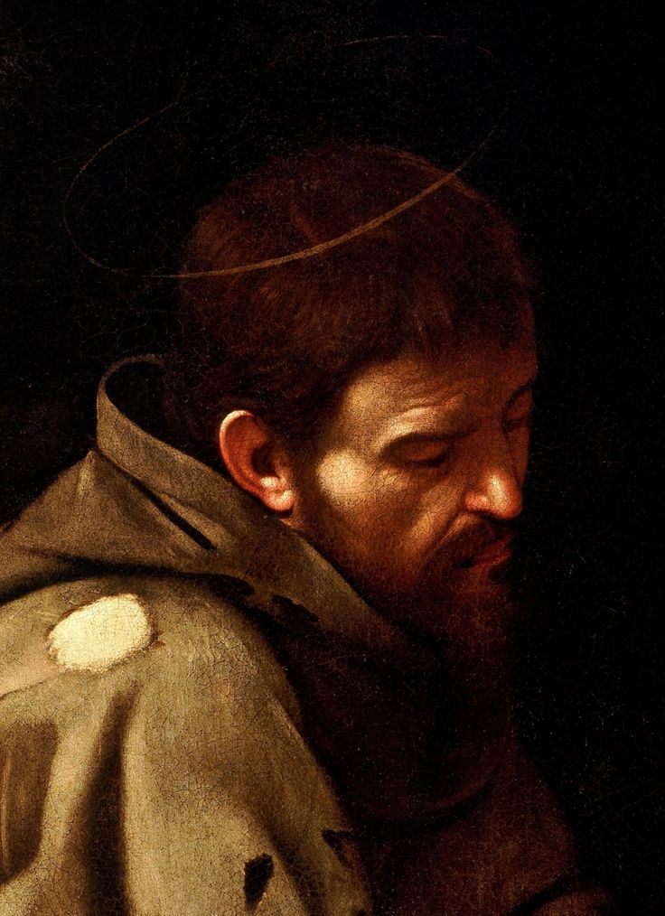 Caravaggio: Saint Francis in Prayer (detail)