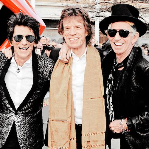 Mick Jagger, Ronnie Wood and Keith Richards attending a private view of 'The Rolling Stones: Exhibitionism' at The Saatchi Gallery on April 4, 2016 in London, England. © David M. Benett.