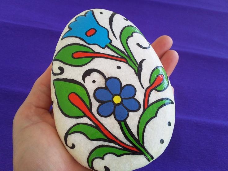 Flower Bunch Original Handpainted Stone Art.