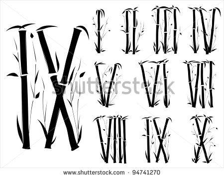竹のモチーフ。参考になるローマ数字のデザイン