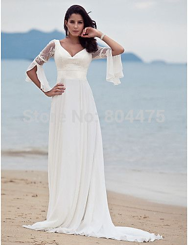 Free shipping  New Long Sleeves Beading Chiffon Bridal Wedding Dresses Beach Wedding Dress Custo ...