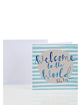 Foil Lettering Birth of Baby Boy Card