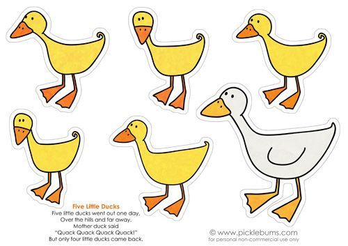 """Five Little Ducks    Five little ducks went out one day,  Over the hills and far away.  Mother duck said,  """"Quack! Quack! Quack! Quack!""""  But only four little ducks came back."""