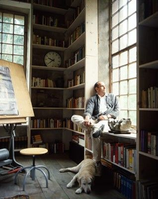 Cosy sitting place near the window, surrounded by books. And a friendly dog. Definitely hope it'll be me someday!