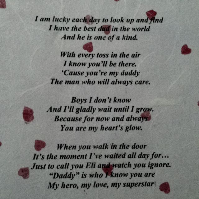 a poem i had created for my daughter to her daddy for valentines day written - Valentines Gifts For Daughters
