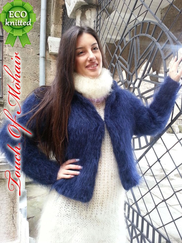 Hand Knitted Mohair Sweater BOLERO New Thick JACKET FUZZY ...