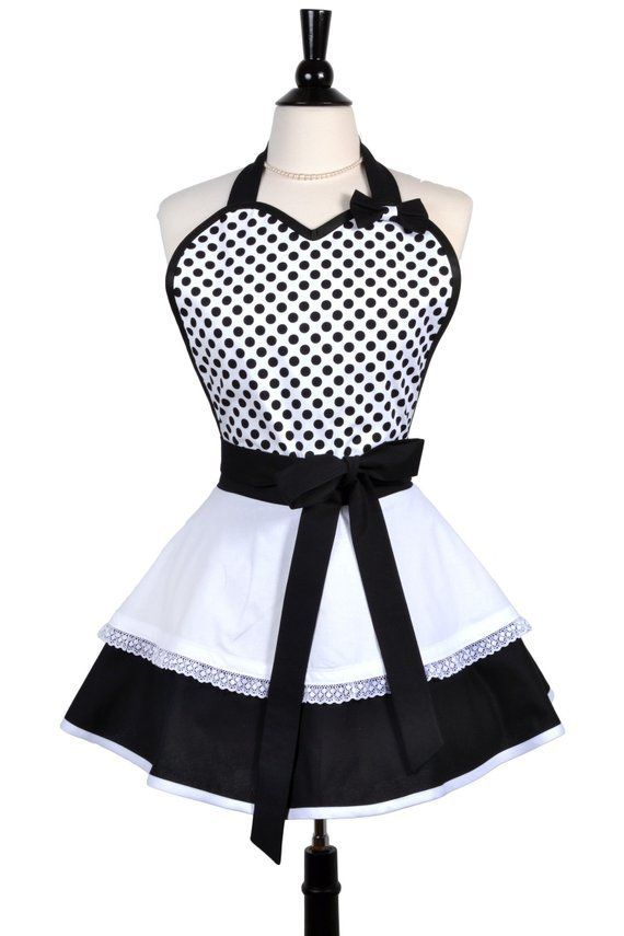 French Maid Black Polka Dot Sexy Pinup Apron in Red and