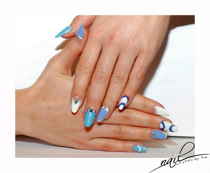 nails nailart design blue white