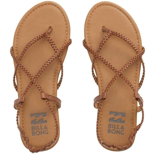 Billabong Women's Crossing Over Sandals ($30) ❤ liked on Polyvore featuring shoes, sandals, desert brown, footwear, strap shoes, braided strap sandals, brown strappy sandals, cross strap sandals and braided sandals