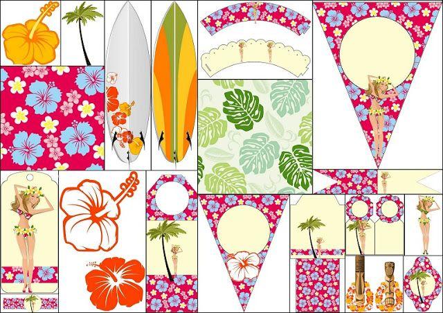 Fiesta Hawaiana de Chicas: Imprimibles Gratis para Fiestas.