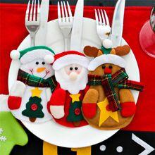 New Year Christmas Ornaments Dinner Flatware Holders Silverware Pockets Christmas Decoration Supplies Santa Snowman Elk Design(China (Mainland))