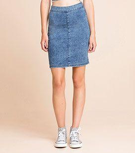 Spódnica dżinsowa z działu CLOCKHOUSE - kolor: dżins-niebieski – niskie ceny w sklepie C&A on-line!