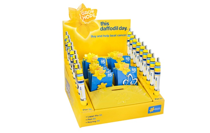 Standard merchandise box with 18 x pens, 10 x yellow pins and 8 x key rings. $222. Show your support by purchasing one via http://www.daffodilday.com.au & help us beat cancer together.