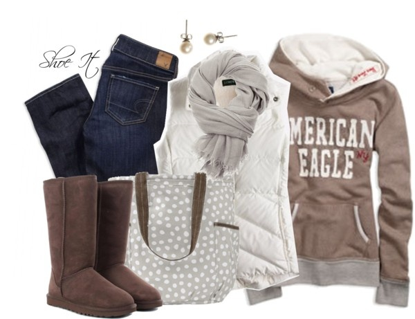 """Brown, Gray and White #1"" by sarahschuett on Polyvore"
