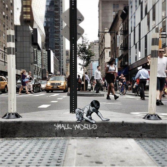 Street art nascosta: mini avventurieri abitano la città di Joe Lurato.