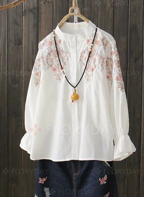 Blouses - $36.04 - Floral Vintage Cotton High Neckline 3/4 Sleeves Blouses (1645125888)