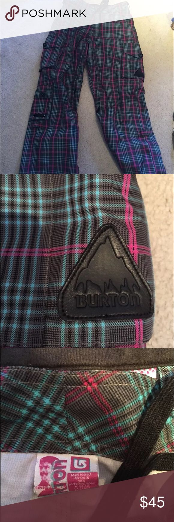 Burton snowboard pants Women's burton snowboard pants with pink and blue plaid design over brown pants. Great fit and really cute pants great for snowboarding or even just a snow day Burton Pants