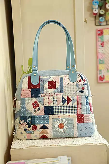 mixed patchwork satchel